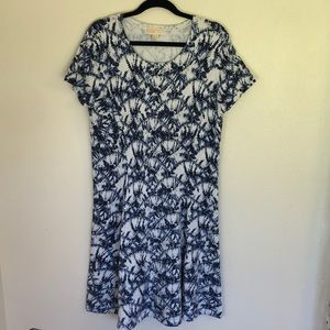 MK size XL sweater dress white/blue tied dye